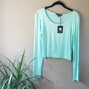 NWT Living Doll Mint Green/ Teal Crop Top